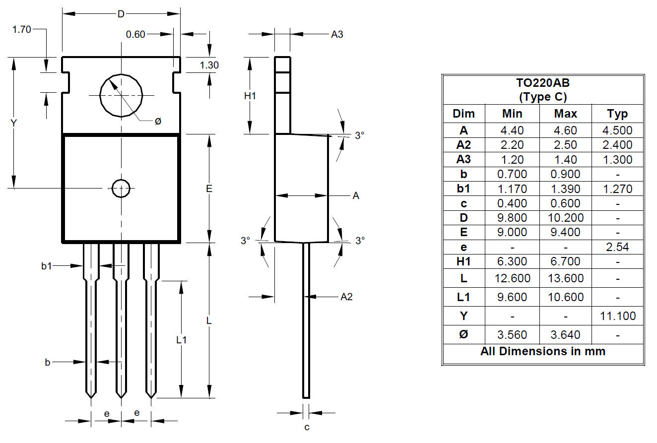 Package Outlines And Suggest Pad Layouts Diodes Incorporated 12 Lead 480 Volt Motor Wiring Diagram To220ab Type C
